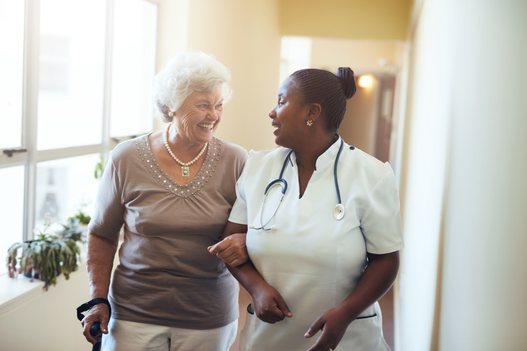 senior woman and healthcare worker